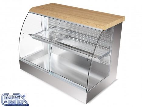 Banco frigo vetrina refrigerata per buffet con piano in legno